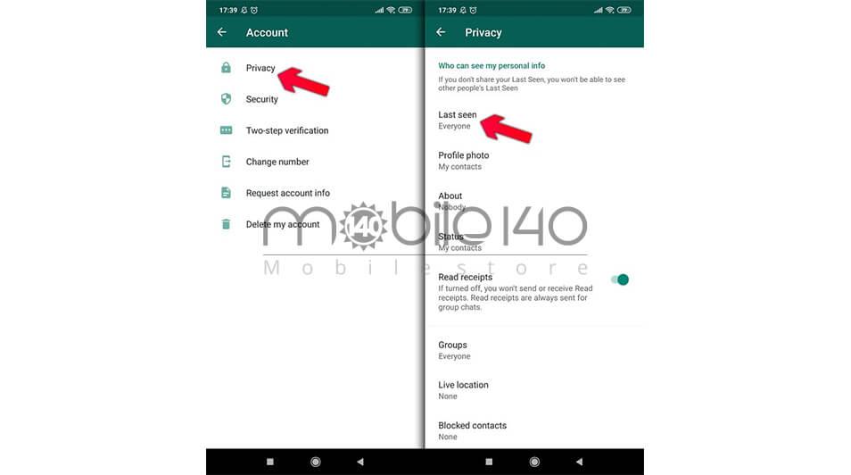 مخفی کردن آنلاین بودن در واتس آپ برای گوشی های با سیستم عامل اندروید