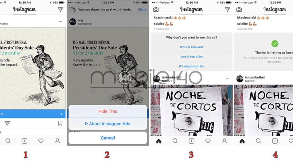 حذف پست های تبلیغاتی اینستاگرام