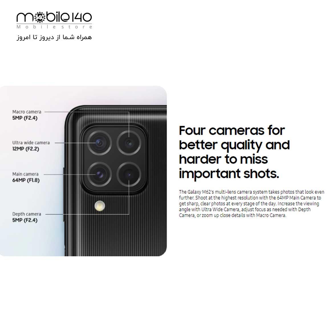 در کادر مربعی که در پنل پشتی M62 مشاهده میشود 4 لنز دوربین مشاهده میشود.